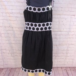 Black and white embroidered detail dress . Size 14